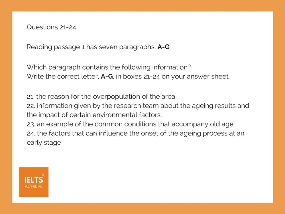 IELTS reading example question