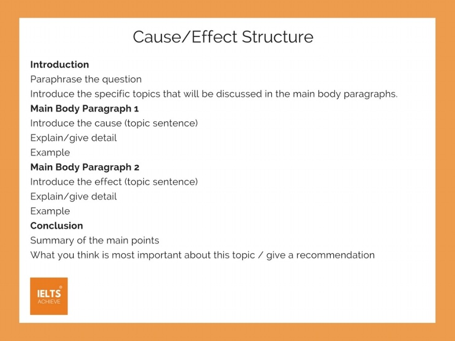 IELTS task 2 cause and effect essay structure