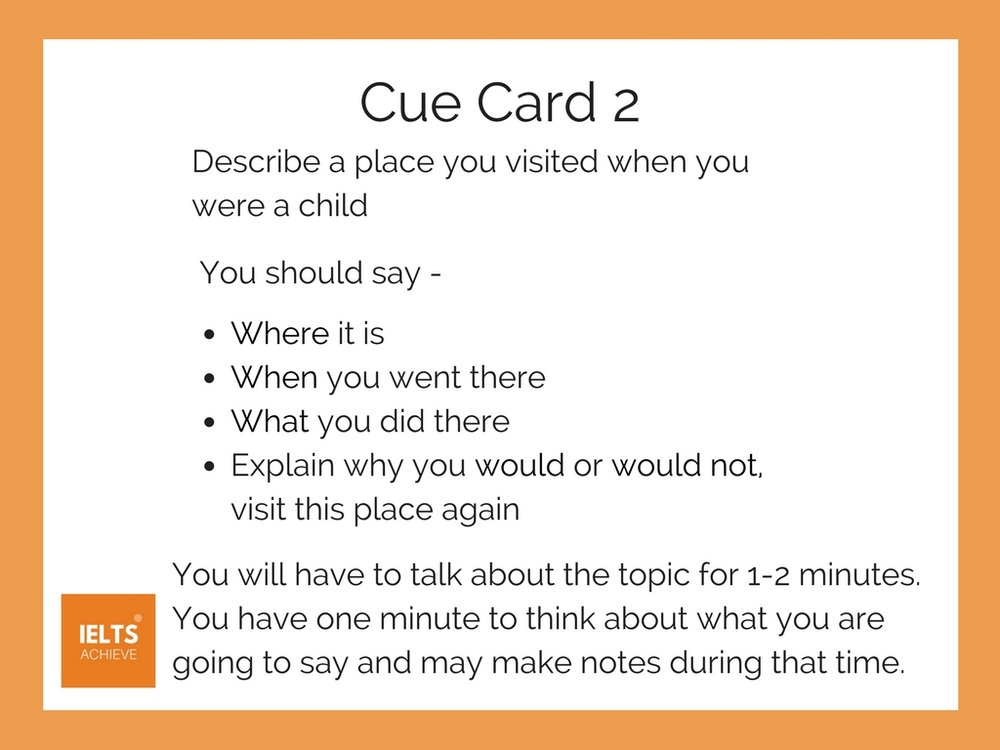 Cue Card 2 - A Place You Visited When You Were A Child