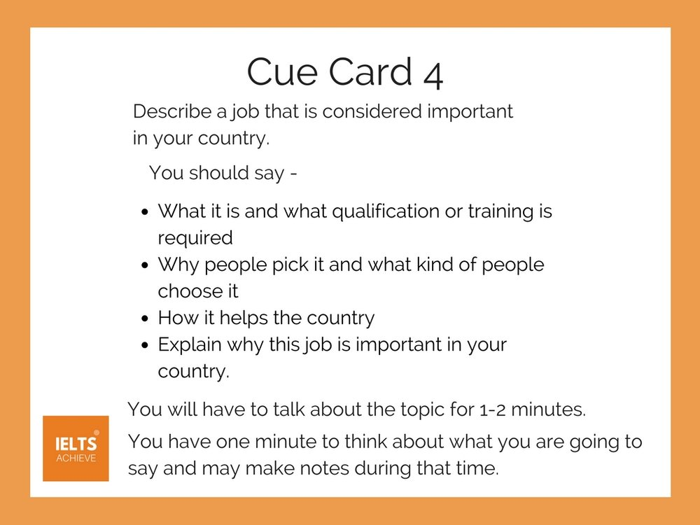 part 2 cue card a job that is important T